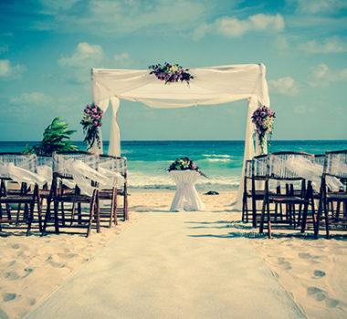 Festa de casamento na praia